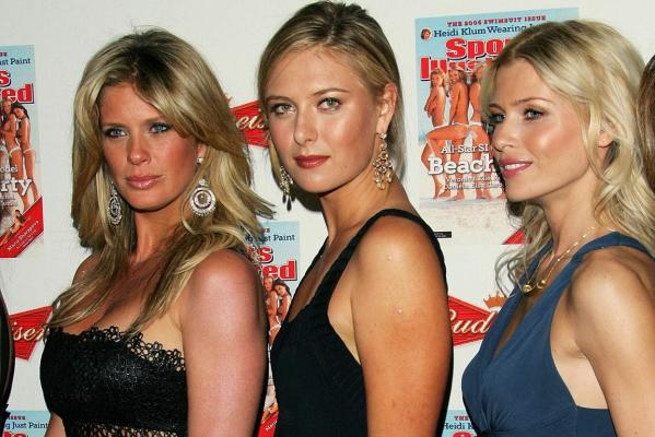 Model Rachel Hunter, tennis star Maria Sharapova and model Daniela Pestova participate in the 2006 Sports Illustrated Swimsuit Issue unveiling event in New York City.