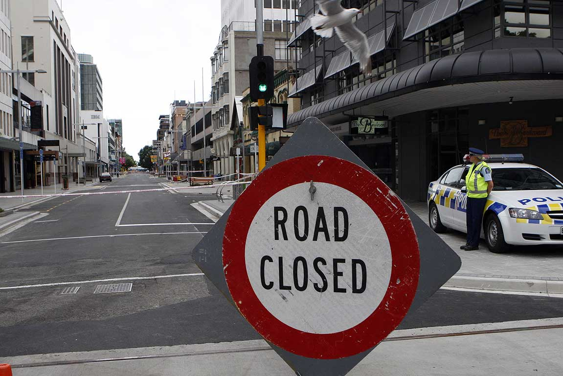 Some streets in central Christchurch were closed following the violent aftershocks.
