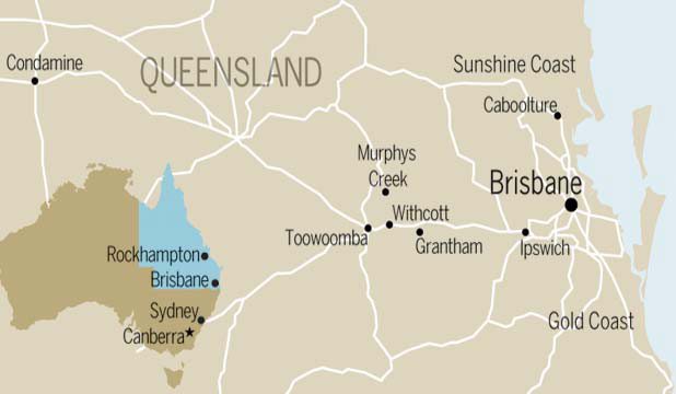 Queensland flood map