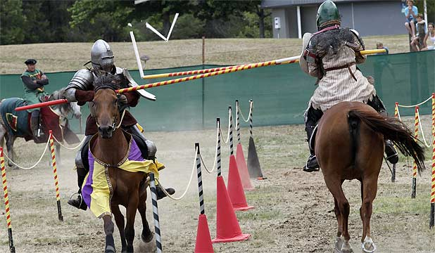 KNIGHT LIFE: Victoria Subritzky, left,and Sasha Buchmann cross lances during a practice joust at the fifth annual Taupo Joust yesterday.