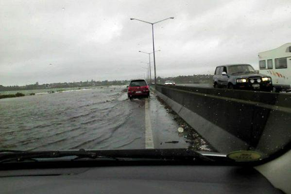 Flooding on Auckland's North-Western Motorway.