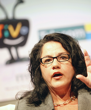 EXPANDING THE MARKET: Hybrid TV chief executive Robbee Minicola at the TiVo launch at TVNZ.