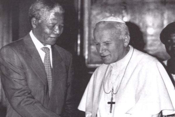 Nelson Mandela with Pope