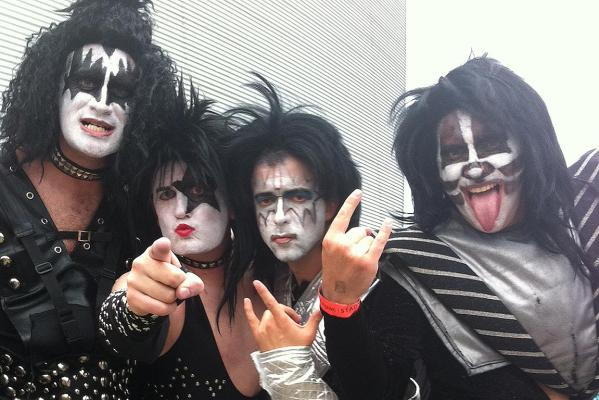 Kiss lookalikes perform at the Wellington Sevens.