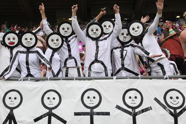 Fans dressed as Stick People enjoy the Wellington Sevens.