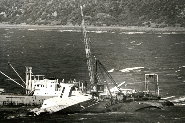 The wreck of the Wahine is salvaged in 1968