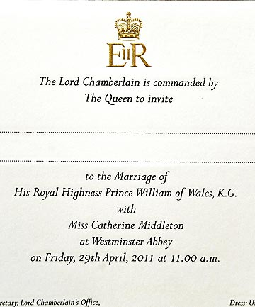 A copy of the invitation to the Royal wedding of Prince William and Kate Middleton.
