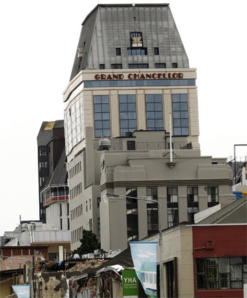 FRAGILE: The Hotel Grand Chancellor is visibly leaning, but seems to have