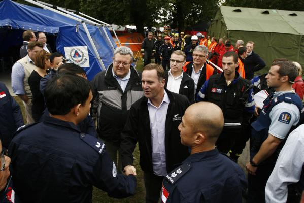 Gerry Brownlee and John Key greet rescue workers