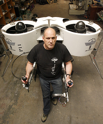 FLYING MULE: Martin Aircraft chief executive Richard Lauder in its Christchurch workshop with the jetpack, which has attracted  military interest.