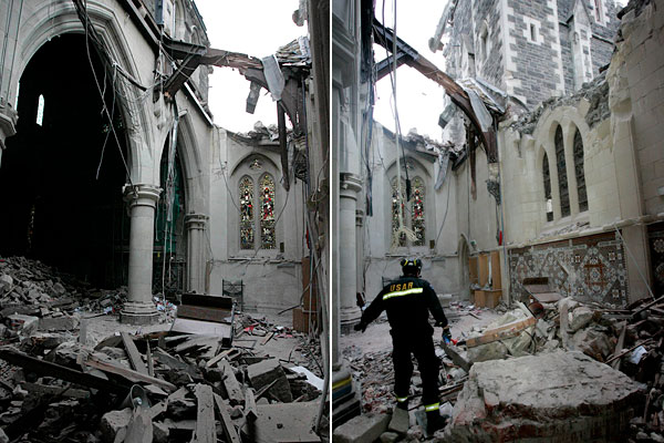 he damage inside the main building of ChristChurch Cathedral