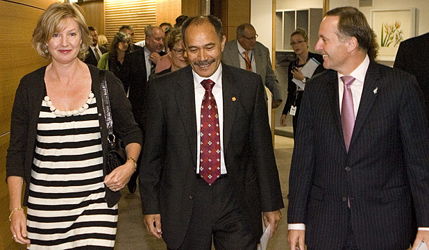 Janine Mateparae, with her husband and the next Governor-General, Jerry Mateparae, and Prime Minister John Key.