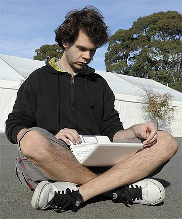 TENT CAMPUS: University of Canterbury student Lyndon Thompson prepares for a lecture in a temporary theatre. Many of the university's courses are being taught in tents around the campus.
