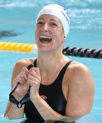 HAPPY SWIMMER: Kirsten Cameron celebrates smashing a  world masters record for 1500 freestyle at the Asia Pacific Out Games  swimming carnival at Kilbirnie.