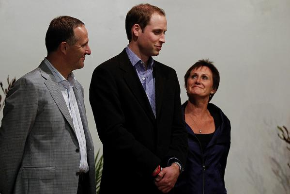 Prince William with New Zealand Prime Minister John Key and Lynne Kokshoorn, wife of Greymouth mayor Tony Kokshoorn, during his visit at Shantytown.