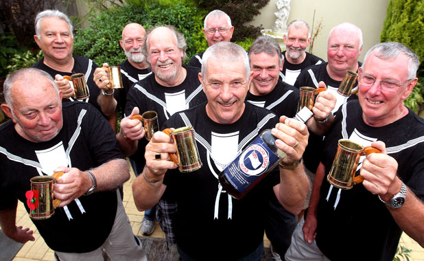 Navy sailors from the original HMNZS Canterbury gathered in Blenheim for a reunion. From left, Gary Huffadine, Mort Anderson, Bob McKenzie, Dale Hobbs, Rod Shoemark, Brett Iggulden (centre back), Peter Atkinson, Doug Carson, Terry Brennan and Tom Baker.