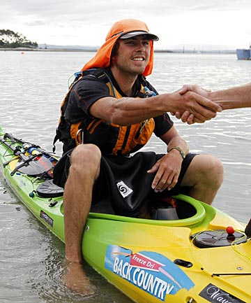 Kayaker Tim Taylor is welcomed to Nelson yesterday during his bid to circumnavigate New Zealand.