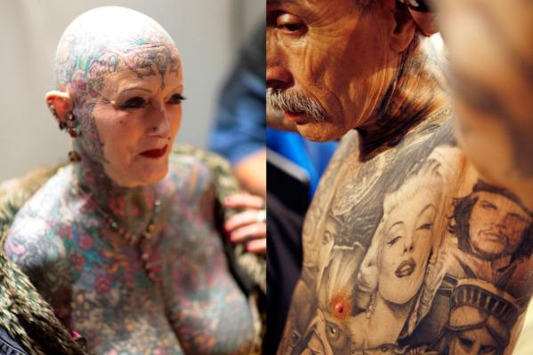 Isobel Varley from Britain (left) and Chuco Caballero show of their tattoos at conventions in Berlin and New York respectively.