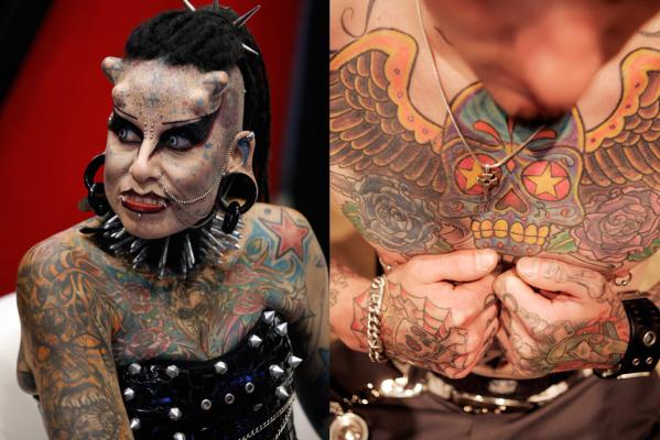 Mexican tattoo artist Maria Jose Cristerna (left), known as 'Mujer Vampiro' (Vampire Woman), attends a photo opportunity during an international tattoo expo in Monterrey in 2011 while at right Mike Curry shows off the tattoos on his chest during the New York City Tattoo Convention in 2006.