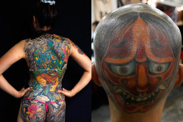 Liu-hsin (left) poses for a portrait during the 2010 Taiwan International Tattoo Convention in Taipei in 2010 while at right a man displays a tattoo on the back of his head for photographers during the Singapore Tattoo Show in 2009.