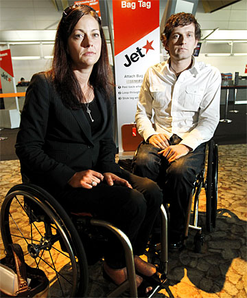HUMILIATED: Tanya Black and Dan Buckingham were refused access to board a JetStar flight because they use wheelchairs.