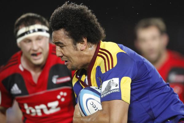 Nasi Manu of the Highlanders runs with the ball during the round 10 Super Rugby match at Trafalgar Park in Nelson.