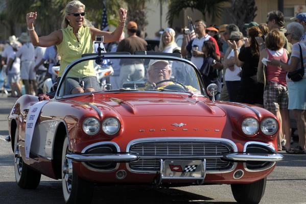 Laura Shepard Churchkey, daughter of US pioneer astronaut Alan Shepard, the first American to travel into outer space, leads the parade commemorating the 50th anniversary of Shepard's historic flight in Cocoa Beach, Florida.