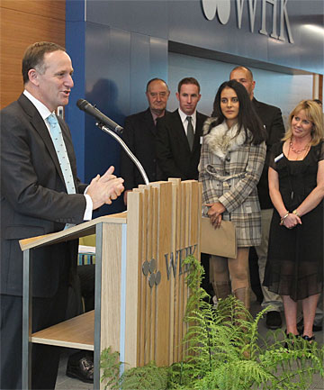 KEY SPEECH:  Prime Minister John Key speaks at the  opening of the WHK building in Invercargill.