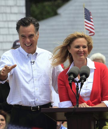 Former Massachusetts Governor Mitt Romney of Massachusetts, accompanied by his wife Ann, announces his 2012 candidacy for US president.