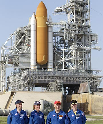 The crew of space shuttle Atlantis, from left, mission specialist Rex Walhiem, mission specialist Sandy Magnus, pilot Doug Hurley and commander Chris Ferguson attend a news conference at the Kennedy Space Centre.