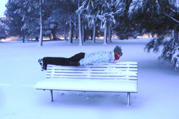 Planking in the snow, Christchurch.