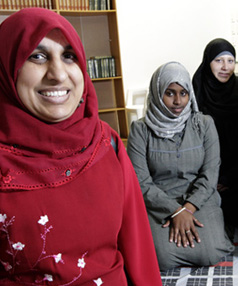 Connecting to NZ: Despite experiencing verbal and physical harassment in their adopted city, these members of WOWMA happily regard Hamilton as home. From left, Anjum Rahman, Radiya Alim, Eman Hepburn, Khatra Omar, Aaminah Ghani, Afreen Azfar.