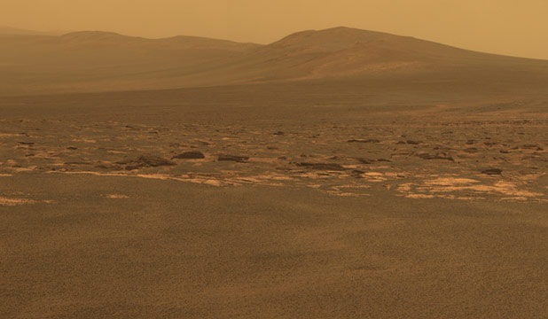 A portion of the west rim of Endeavour crater sweeps southward in this color view from Nasa's Mars Exploration Rover Opportunity released by Nasa August 10, 2011.