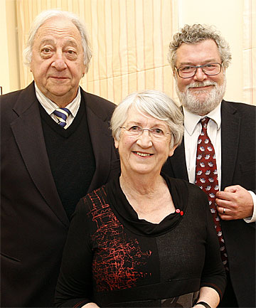 BETTER OFF BY $60,000: Enjoying the prestige of the Prime Minister's Award for Literary Achievement are Peter Bland, left, Dame Fiona Kidman, and James Belich.