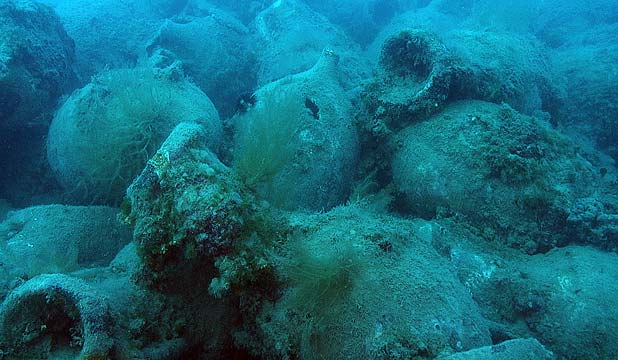 The amphora found by an US-Albanian underwater expedition which believes they have found a 1st century BC Roman shipwreck off the southwestern Albanian coast