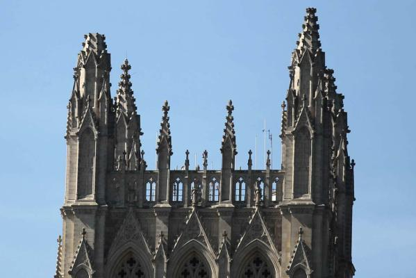 One of the spires of the National Cathedral is seen missing following an earthquake in the Washington.