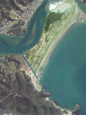 NGUNGURU SANDSPIT: The area acquired by the Department of Conservation is in green.