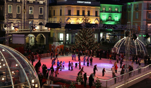 Skate on: An example of an ice rink in a European city. Hamilton will get its own temporary ice rink next month.
