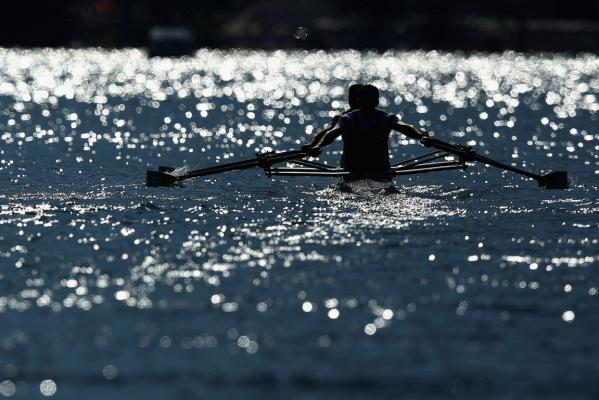 A men's double sculls combination go through their paces at the world championships on Lake Bled.