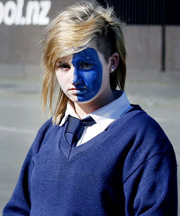 GOING BLUE: Timaru Girls' High School student Kristie Bennet wore blue face paint to school but was told to wash it off.