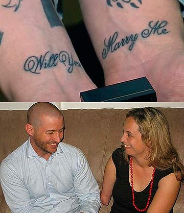 The marriage proposal tattoo (top) and the happy couple, Glen Robinson and Michelle Bate.