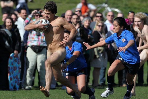 There was almost no stopping the Nude Blacks in today's International Nude rugby game against the all-girls Spanish team, Los Conquistadors.
