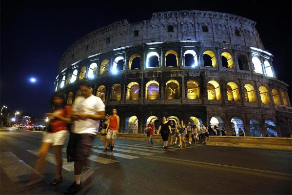 Rome's ancient Colosseum is lit up to mark the 10th anniversary of the 9/11 attacks in the United States.