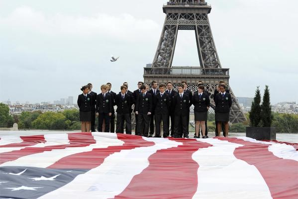 Students of Special Military School of Saint-Cyr mark the 10th anniversary of the 9/11 attacks on the United States at Trocadero square near the Eiffel Tower in Paris.
