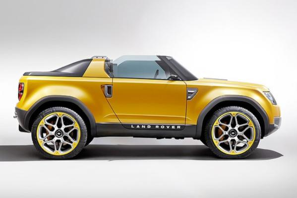 The DC100 Sport, a convertible version of the Land Rover Defender, shown at the 2011 Frankfurt motor show.