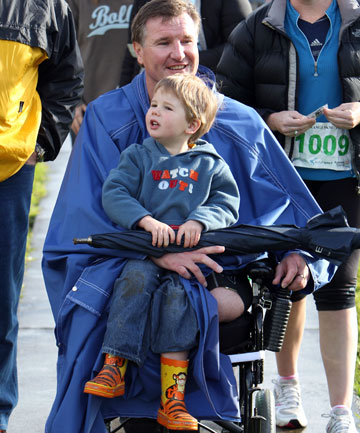Ian Winson  with his son Ethan, almost three, at  yesterday's Lydiard Legend race.