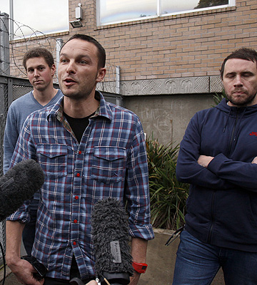BAILED: Benjamin Boyce, centre, Andrew Robinson, left, and Bryce Casey, right, outside Manukau District Court.