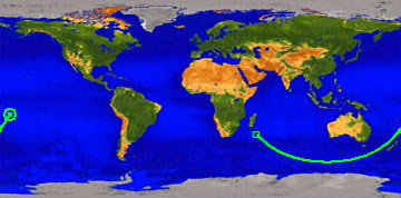 The Nasa provided map of the dying satellites last minutes