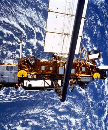 The Upper Atmosphere Research Satellite (UARS) shortly after it was deployed by the Space Shuttle Discovery in September 1991.