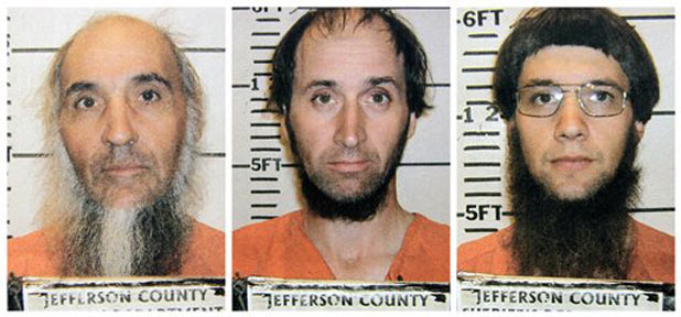 Jefferson County Sheriffs Department photo shows Levi Miller, Johnny Mullet, and Lester Mullet, the three men believed to be members of a breakaway Amish group arrested on assault charges.